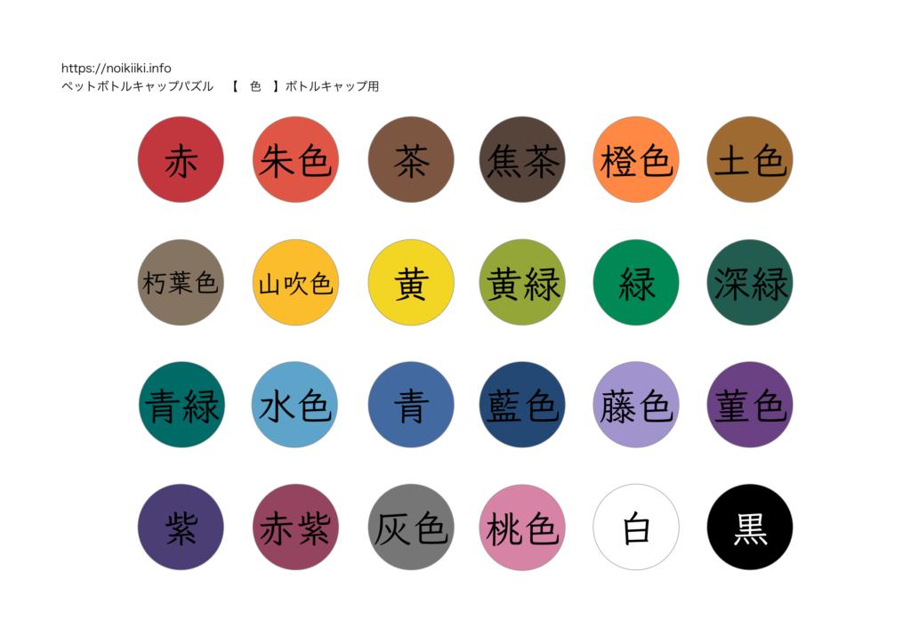 ペットボトルキャップパズル!色のマッチング課題1